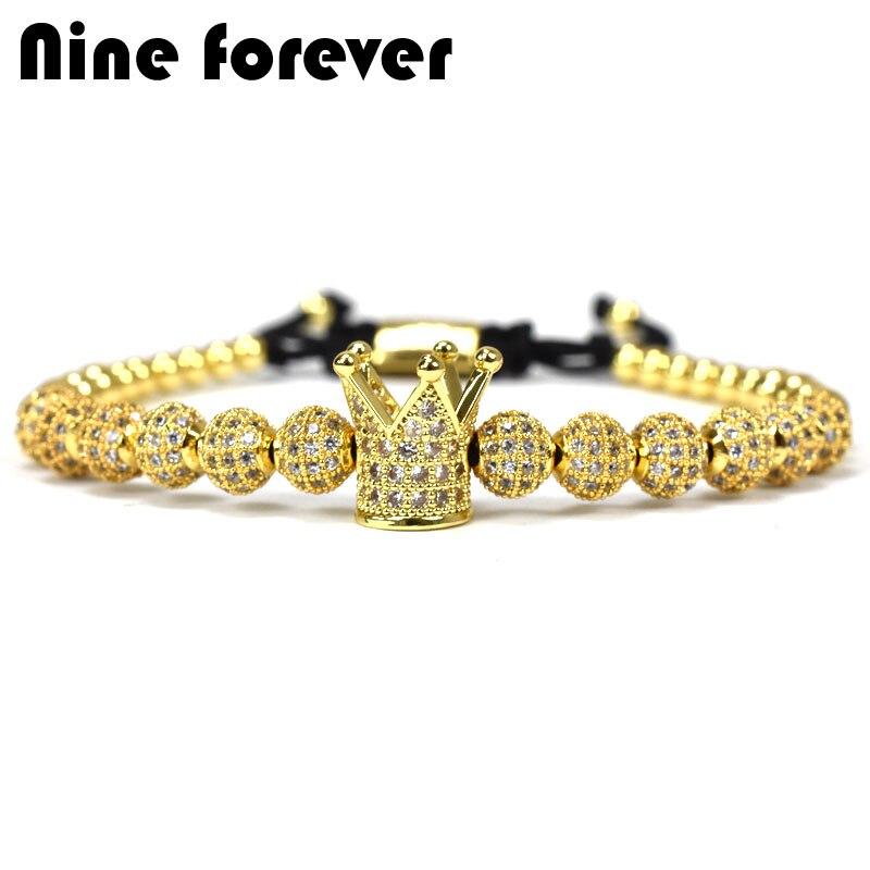 Neun immer perlen charme Armband männer schmuck Flechten Macrame könig crown Armbänder für frauen pulseira masculina feminina