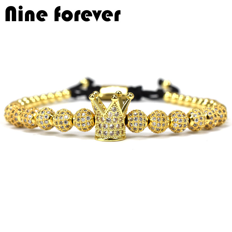 Nine forever beads charms Bracelet men jewelry Braiding Macrame king crown Bracelets for women pulseira masculina feminina new anil arjandas macrame bracelets 18pcs rose gold micro pave black cz stoppers beads braiding macrame bracelet for men jewelry