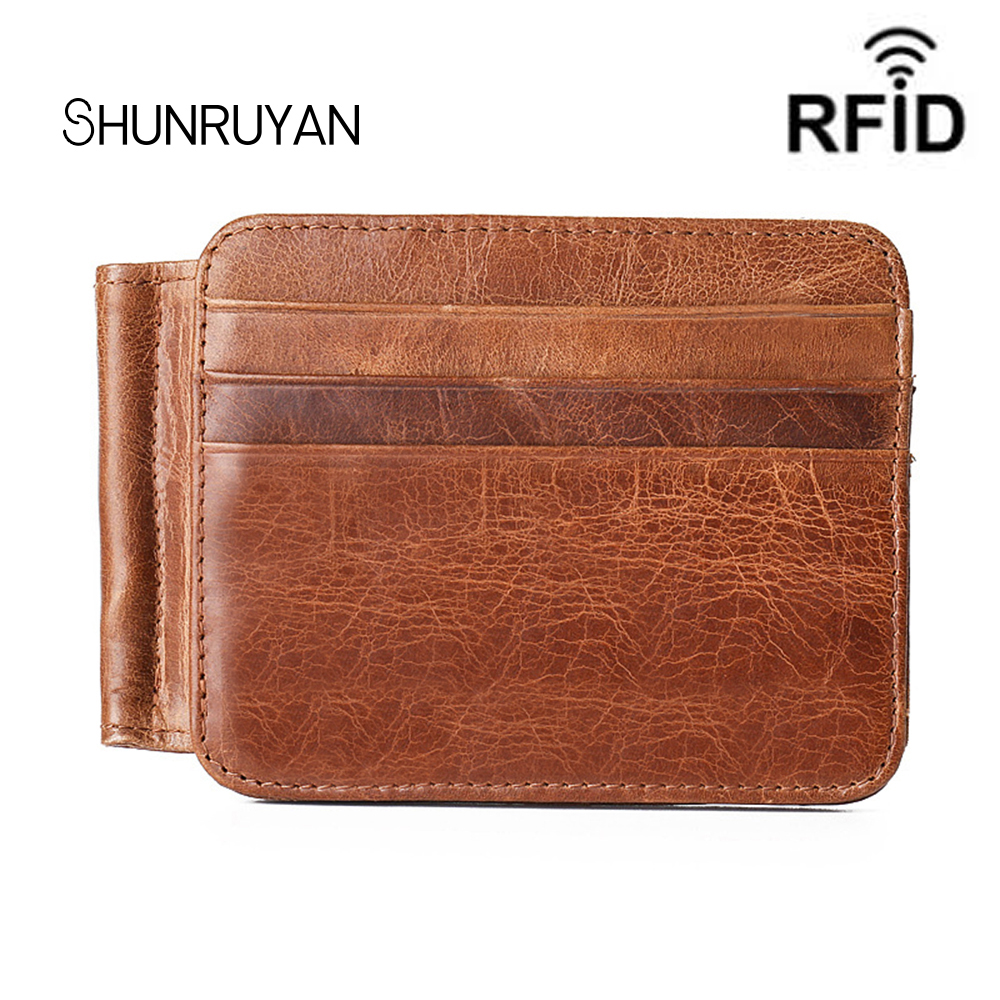 SHUNRUYAN New fashion cow leather Bank Credit Package Holder Business Thin Card Wallet Men Cash Cards Pack