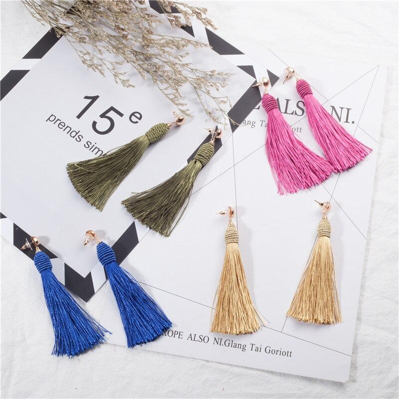 Charm Cloth tassel womens earrings Ethnic Handmade rope Long tassel earring for women Colorful Sexy Water Drop Long earring