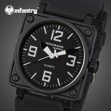 INFANTARIA Homens Relógios militares rosto quadrado analógicos Sports Relógios de pulso relógios de quartzo preto pulseira de borracha de água Relojes Resistentes
