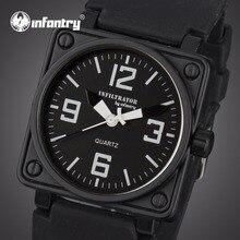 INFANTRY Heren Horloges Militair Vierkant Gezicht Analoog Sport Horloges Quartz Horloges Zwart Rubberen Band Waterbestendig Relojes