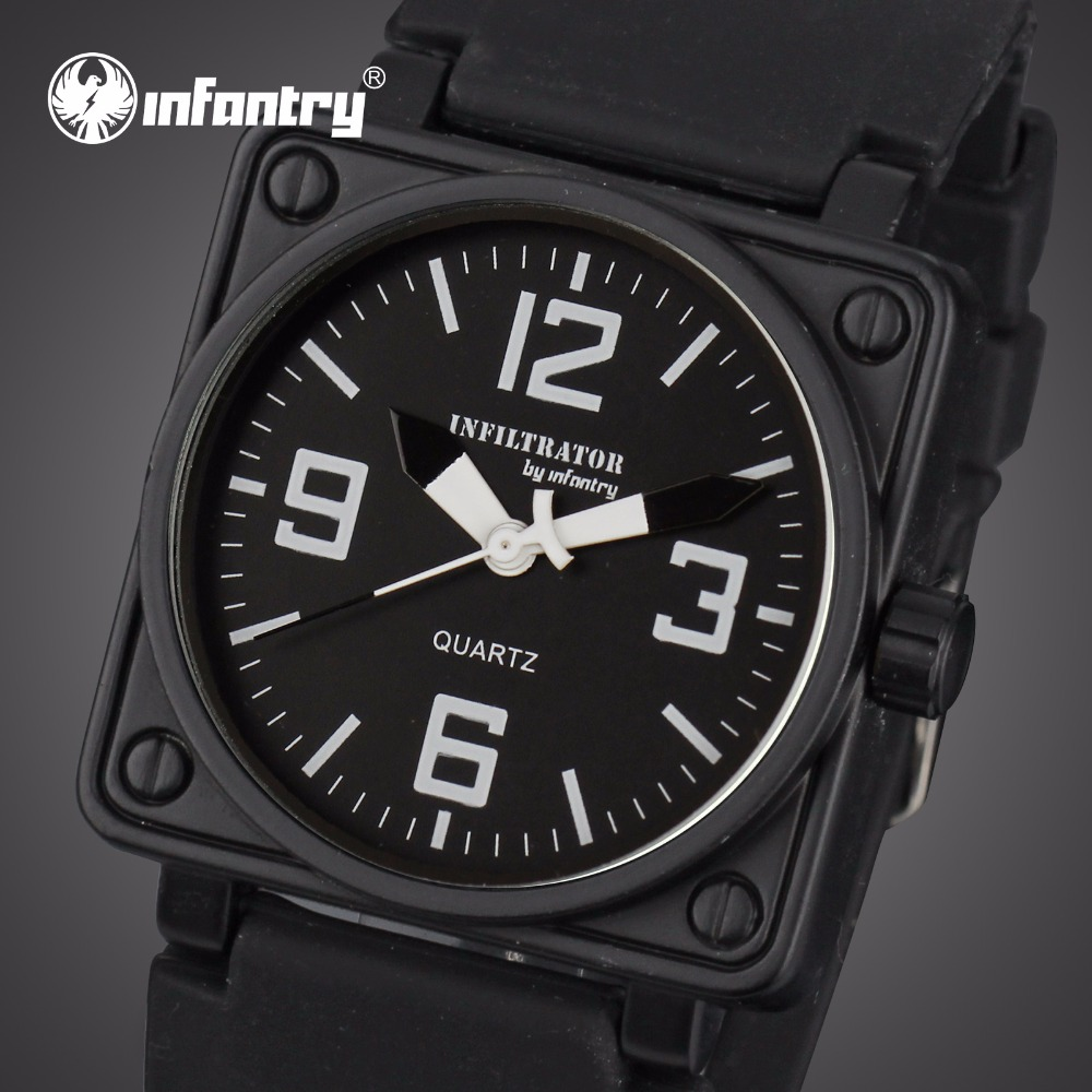 INFANTRY Mens Quartz-watches Military Square Face Watches Analog Male Clock Tactical Army Black Silicone Band Relogio Masculino