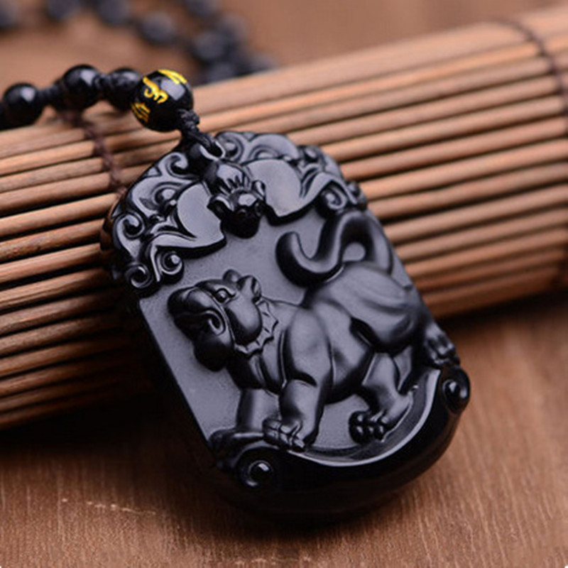 Natural Black Obsidian Pendant Carved Chinese Zodiac Tiger Pendant Bead Necklace Lucky -1901