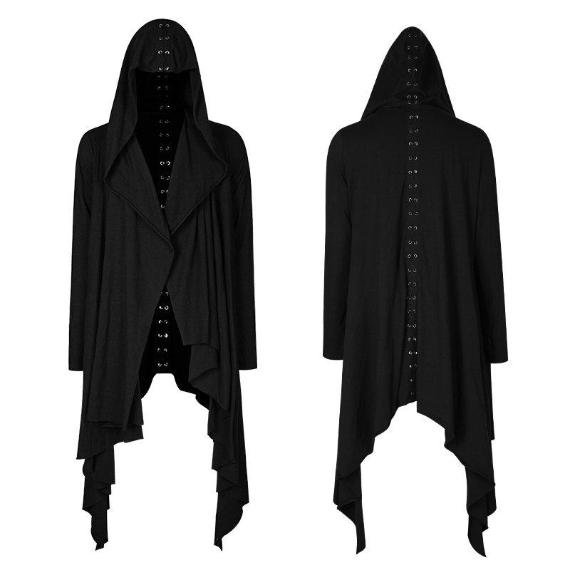 Gothic Women Black Knitted Hooded Sweat Jacket Plain Casual Cardigan Irregular Coat Back Of A Lace Knitted Daily Long Jacket