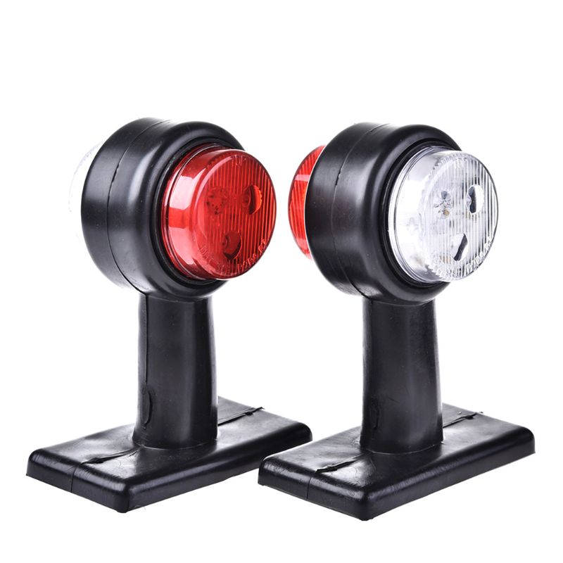 New 1 Pair Truck Trailer Caravan 12V/24V LED Double Side Marker Clearance Light Warning Lamp Red White Qyh