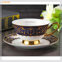 1 set Ceramic Tea Cup And Saucer Set Designer Bone China Coffee Cup Porcelain Afternoon Black Tea Cup Set Wedding Gifts 5ZDZ467