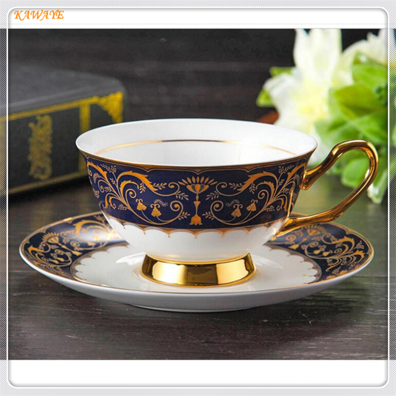 1 set Ceramic Tea <font><b>Cup</b></font> And Saucer Set Designer Bone China <font><b>Coffee</b></font> <font><b>Cup</b></font> <font><b>Porcelain</b></font> Afternoon Black Tea <font><b>Cup</b></font> Set Wedding Gifts 5ZDZ467 image