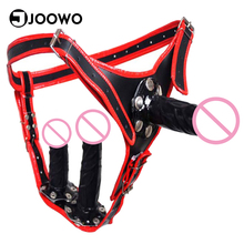 Women Gay Adjustable Chastity Belt Pants Anal Vaginal Plug Lesbian Harness Dildos Penis Adult Sex Toy Briefs Underpants Costumes