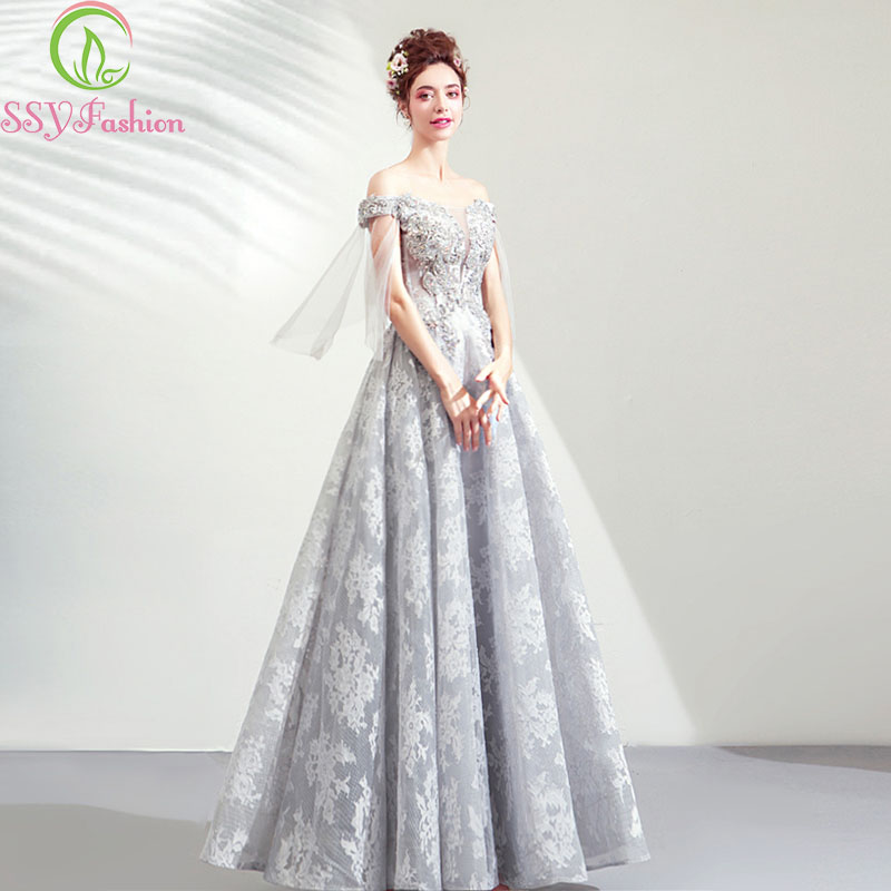SSYFashion 2019 New Banquet Elegant Grey Lace Evening Dress Boat Neck Appliques Floor-length Party Formal Gown Robe De Soiree