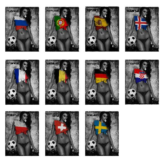 Fashion Sexy Footbal Girl 2019 Flag Cotton Men Print T Shirt Spain France Portugal Russia Belgium Poland Germany Switzerland Tee