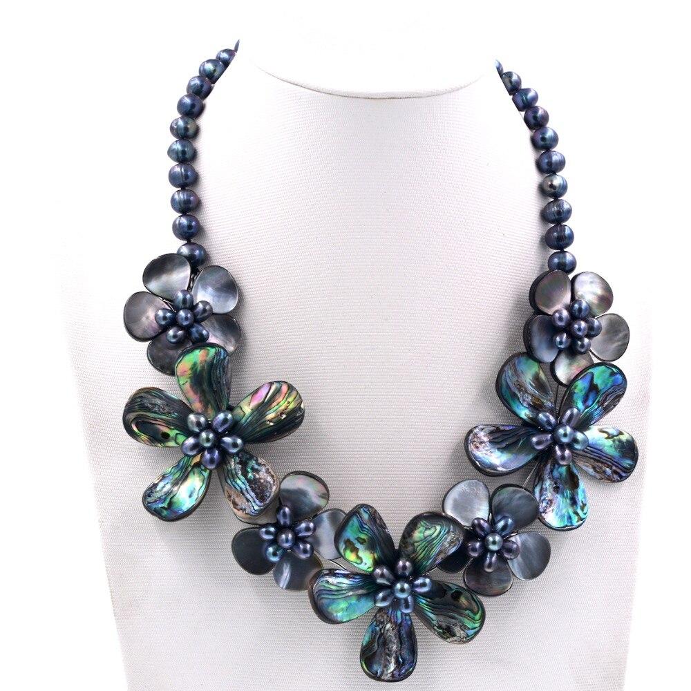 Europe Chic mode noir perle d'eau douce Abalone coquille fleurs collier ras du cou nouveaux bijoux robe accessoires