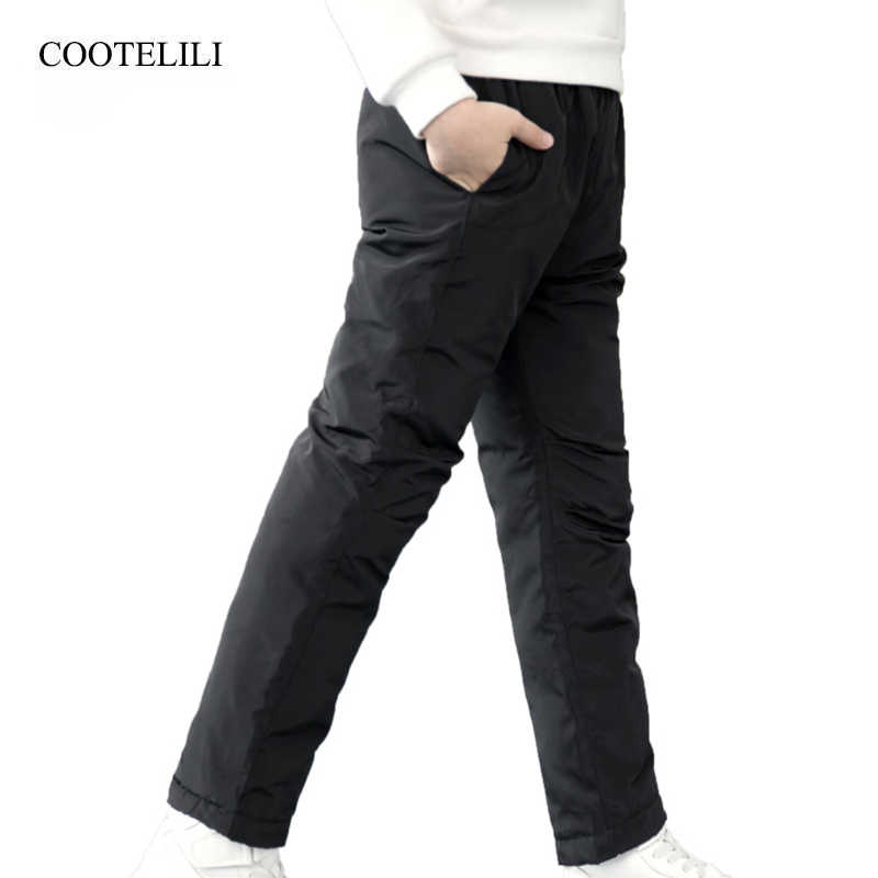 COOTELILI วัยรุ่น Girl Boy ฤดูหนาวกางเกงผ้าฝ้ายหนากางเกงสกีกางเกงกางเกงเสื้อผ้าเด็ก 100-150 ซม.