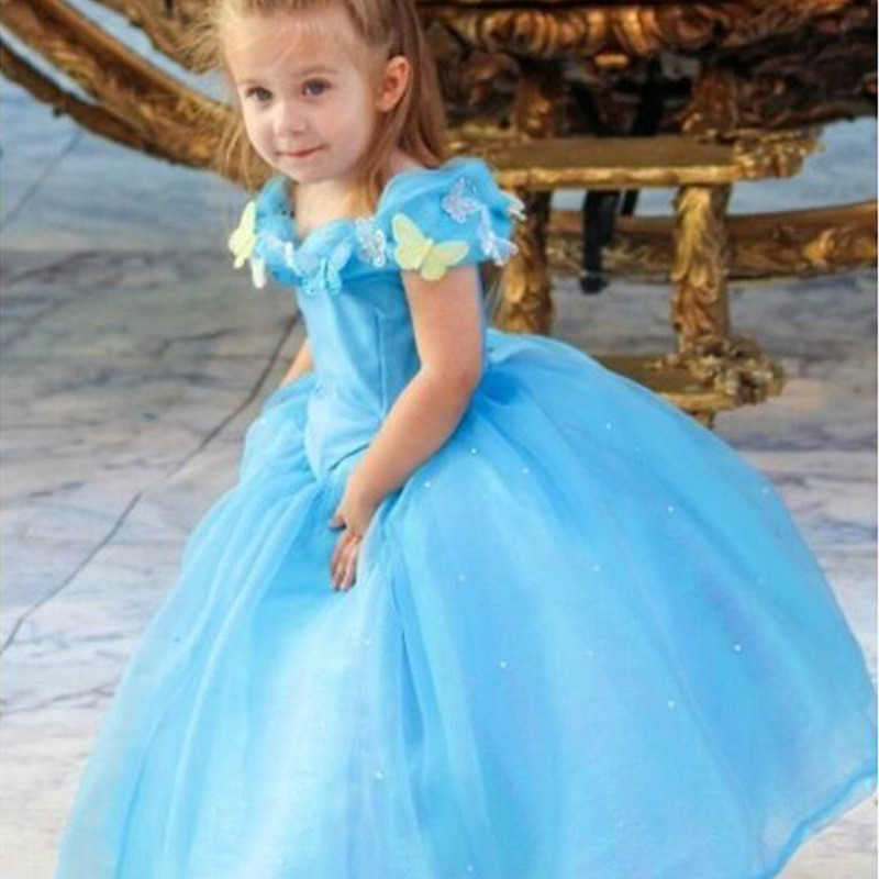 Kids Cosplay Costume Dress Cinderella Elsa Baby Girls: Retail Girls Sheer Dress Cosplay Costume Cinderella