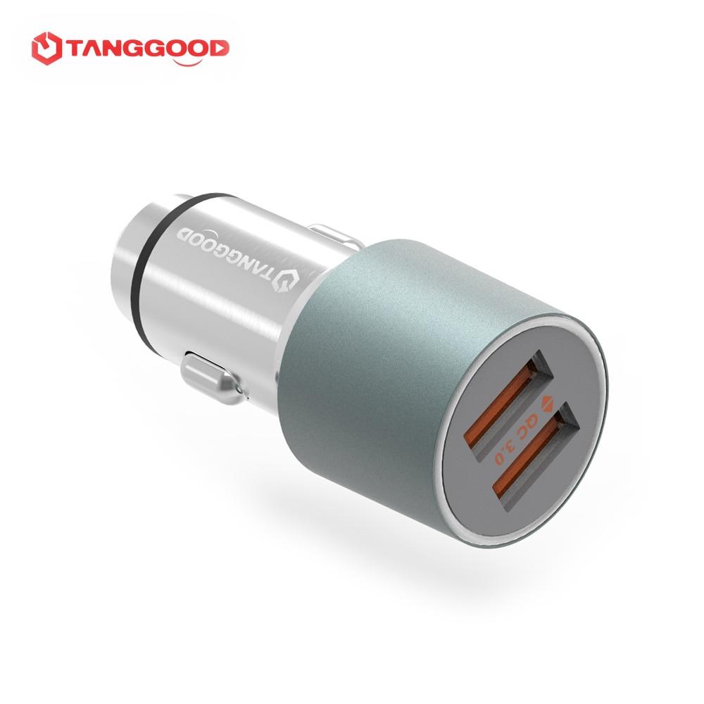 imágenes para TANGGOOD Cargador de Coche de 2 Puertos 36 W Carga Rápida 3.0 cargador de Coche Dual USB QC 2.0 Encendedor de Cigarrillos para Xiaomi Samsung Huawei FCP