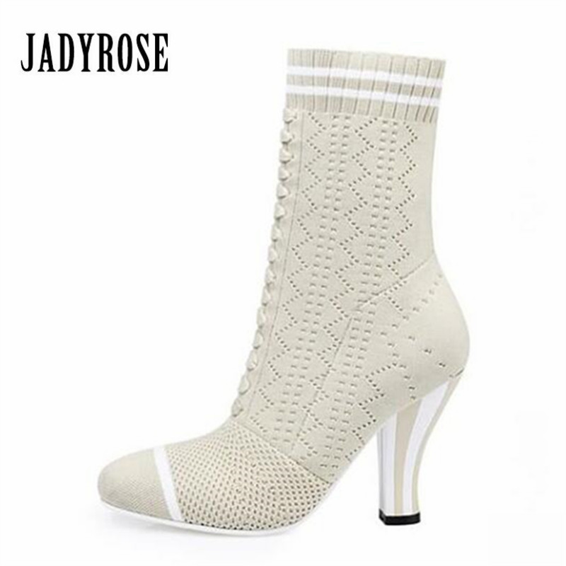 Jady Rose White Women Knitted Ankle Boots Stretch Sock Boots Strange High Heels Female Autumn Elastic Botas Mujer Valentine Shoe fashion kardashian ankle elastic sock boots chunky high heels stretch women autumn sexy booties pointed toe women pumps botas