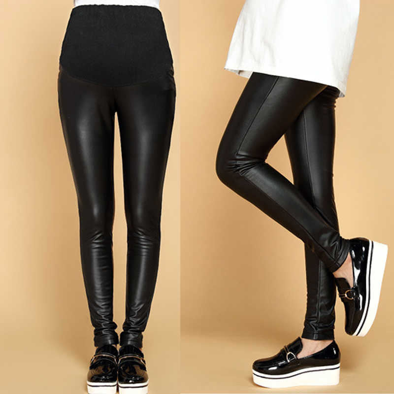 bfd112bf7d6a3f Winter Pregnant Pants Women Adjustable Cotton PU Leather Leggings Maternity  Comfortable Warm Fitness Trousers