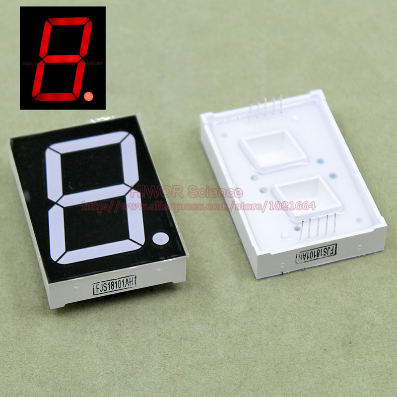 (10pcs/lot) 10 Pins 18011AR 1.8 Inch 1 Bit 7 Segment Red LED Display Share Common Cathode Digital Display