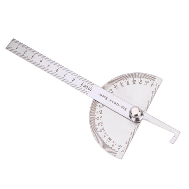 10cm 180 Degree Protractor Angle Finder Rotary Measuring Ruler Stainless Steel For Woodworking Tools Angles