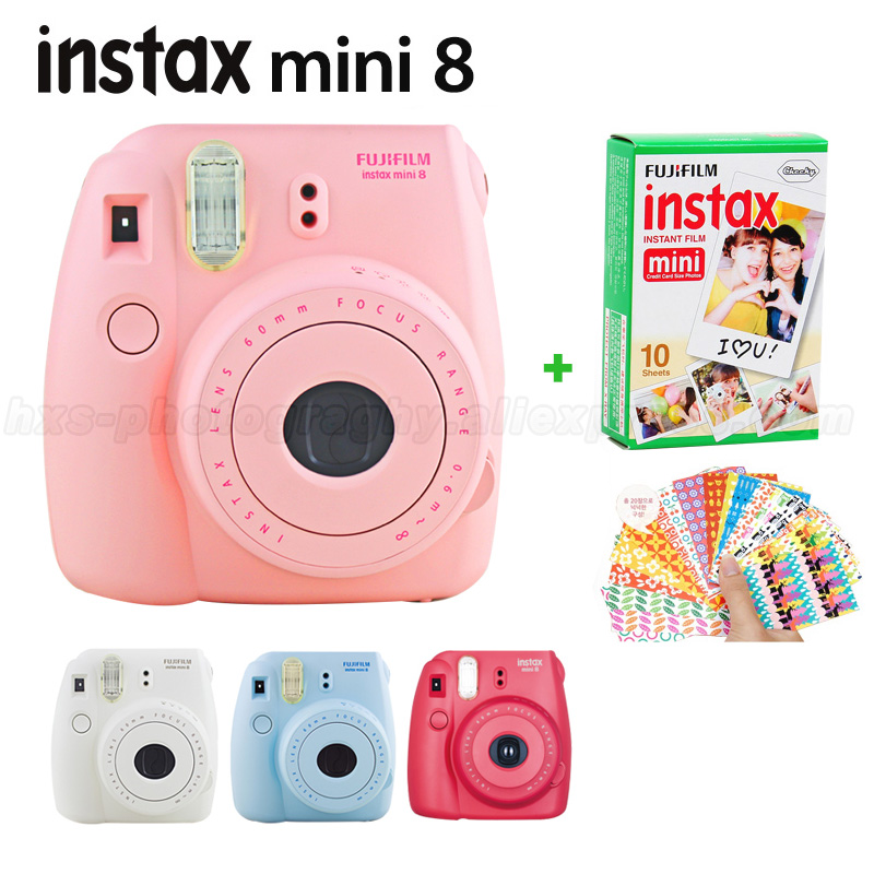 Genuine Fuji Fujifilm Instax Mini 8 Instant Camera Set with 10 pcs Fujifilm instax Mini Instant Film, Raspberry White Pink Blue genuine compact fuji fujifilm instax mini 8 camera instant printing regular film snapshot shooting photos white red purple pink