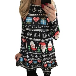 5XL Big Size New Year Christmas Dress Deer Printed Dresses 2019 Winter Loose Casual Family Party Dresses Women Plus Size Vestido 2