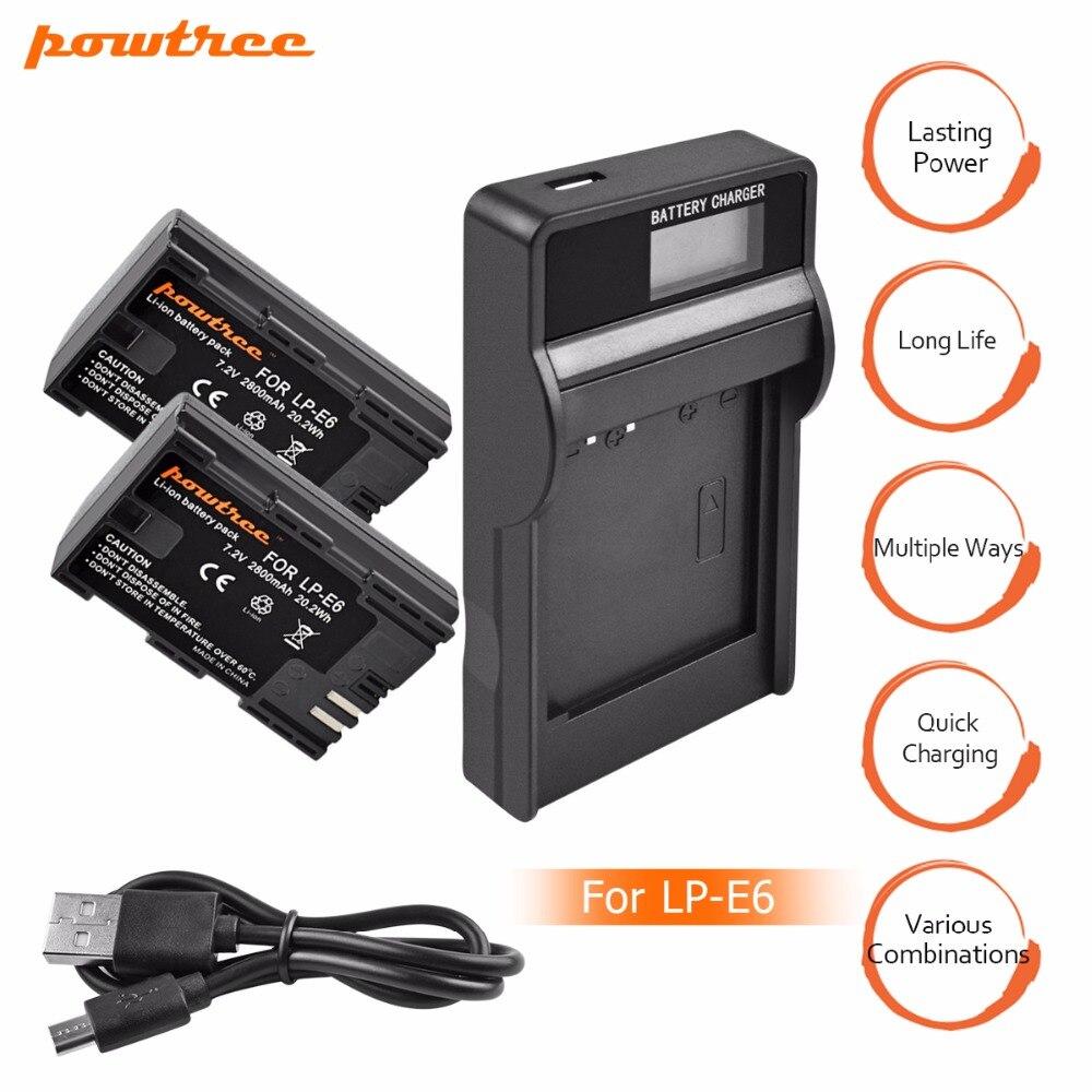 2X LP-E6 LPE6 LP E6 Li-Ion Batteria + LCD Batteria Caricabatteria per Canon 5D Mark II, Mark III EOS6D 7D 60D 60Da 70D 80D DSLR EOS 5DS L