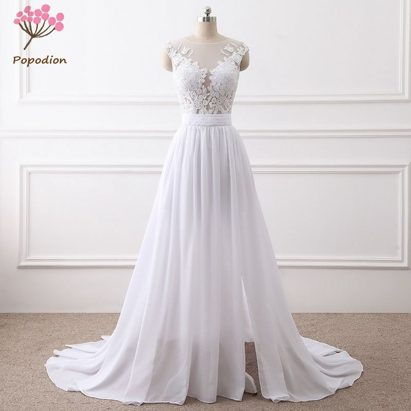 Popodion Lace Chiffon Mariage Wedding Gown White Mermaid Wedding Dress Bride Dress Vestido De Noiva WED90385