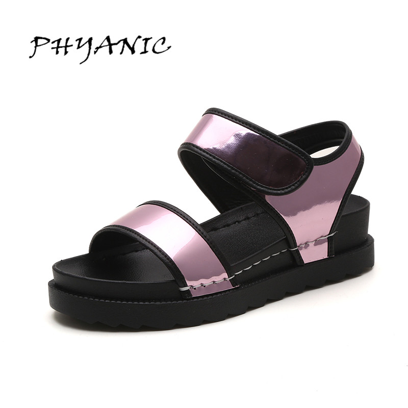 PHYANIC Casual Gladiator Sandals 2017 Silver Creepers Platform Summer Shoes Woman Slip On Flats Casual Women Shoes PHY4043 2017 summer new rivet wedges sandals creepers women high heel platform casual shoes silver women gladiator sandals zapatos mujer
