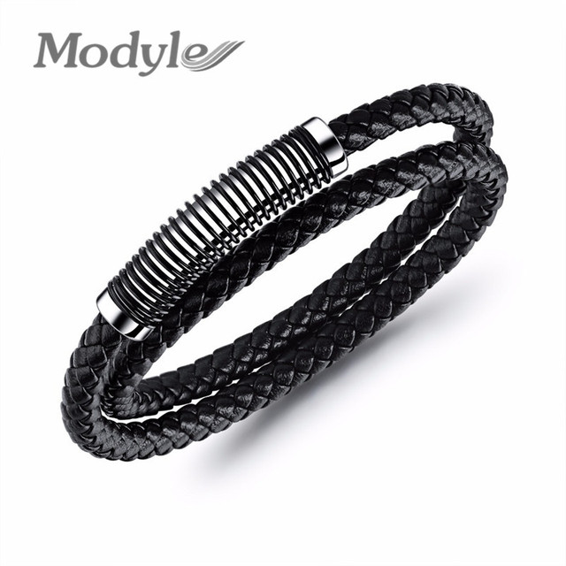 Modyle Cool Stainless Steel Spring Bracelets Bangles Double Layers Black Leather Weaving Bracelet For Men