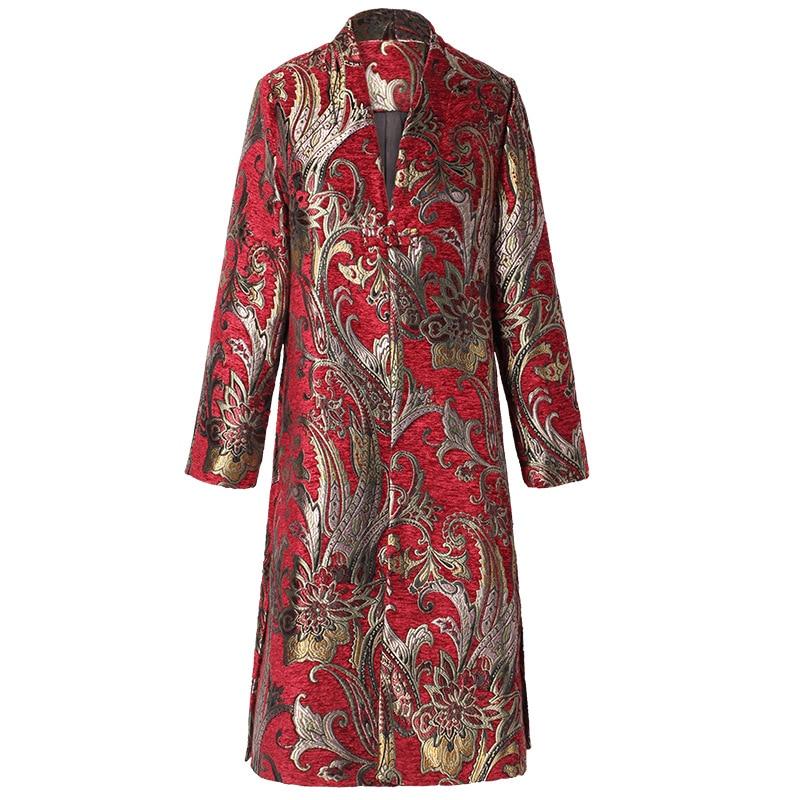 Vintage Manteaux Taille La Tranchée Style Hiver Coupe vent Coat M Manteau Broderie 5xl Plus Femmes Rouge red Black Chinois Coat Long Noir 2018 fwpXOqf