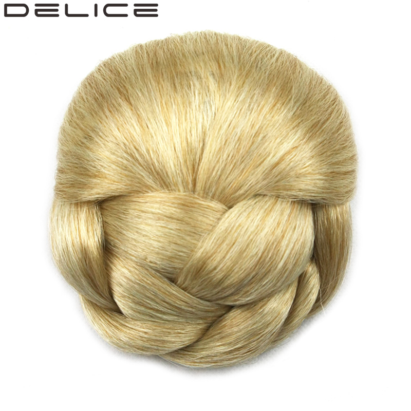 DELICE 70g Women s Braided Clip In Hair Chignon Donut Roller Synthetic Hairpieces DH102