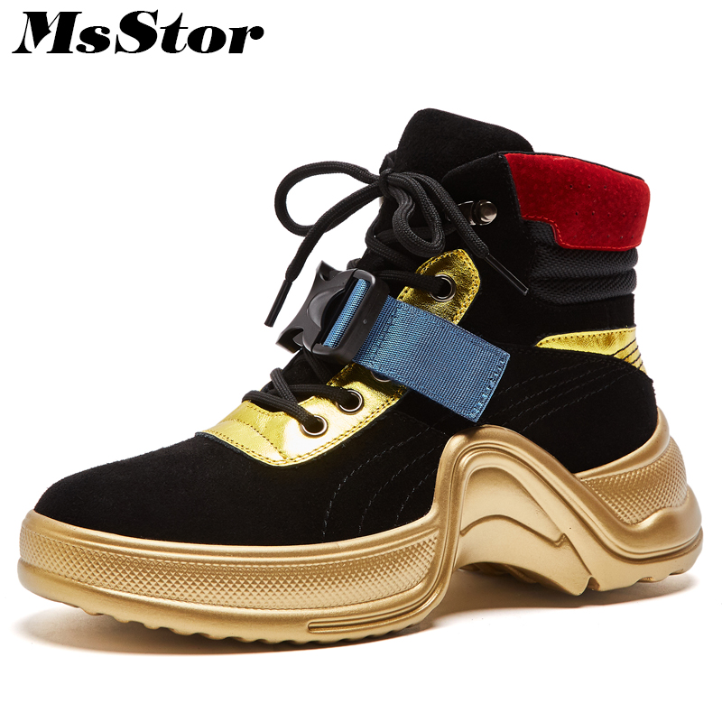 Msstor Thick Bottom Lace Up Women Boots Fashion Mixed Colors Buckle Ankle Boots Women Shoes Platform Black Boot Shoes For Woman beffery 2018 british style patent leather flat shoes fashion thick bottom platform shoes for women lace up casual shoes a18a309