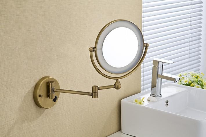 Hot Bathroom Bronze Wall Mounted 8 Inch Brass 3x 1x Magnifying Mirror Led Light Folding Makeup