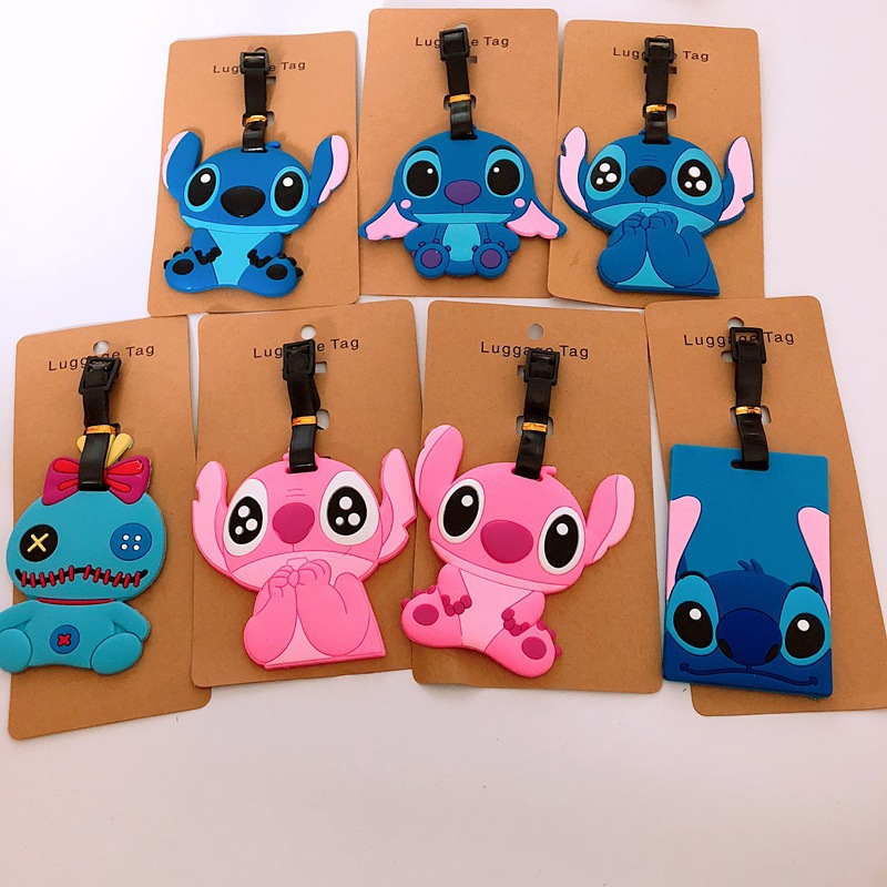 Kawaii Stitch Suitcase Luggage Tag Cartoon ID Address Holder Silicone Baggage Label Portable Label Travel Accessories