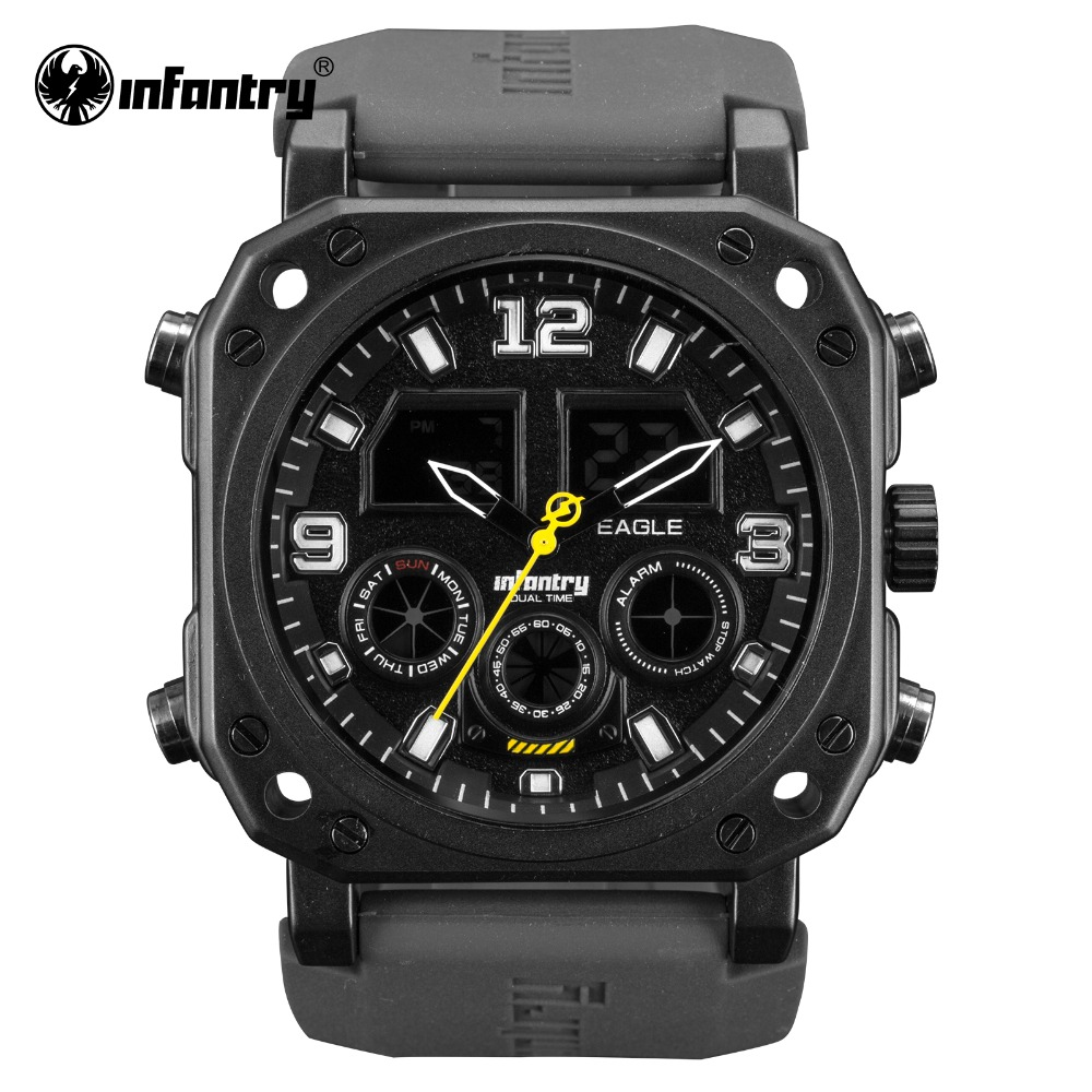 INFANTRY Military Watch Men LED Digital Wristwatch Mens Watches Top Brand Luxury Tactical Army Black Silicone Relogio Masculino infantry military watch men square digital led wristwatch mens watches top brand tactical army sport nylon relogio masculino