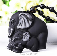 Pretty Chinese Handwork Natural Black Obsidian Carved Monther Baby Elephant Amulet Lucky Pendant Necklace Fashion Jewelry