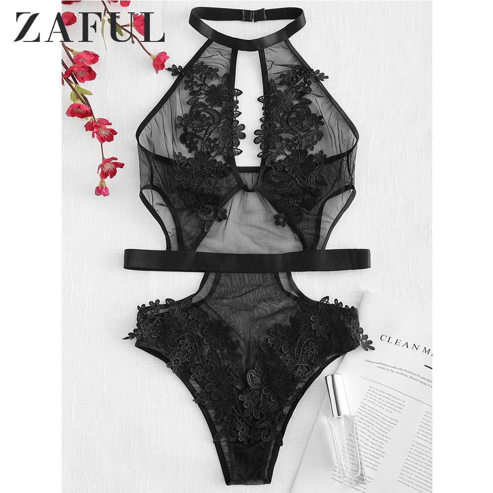 ZAFUL Flower Applique Sheer Tulle Teddy Bodysuit Fashion Sexy Women Overalls Female Bodysuits Black Women's Clothing   Jumpsuit
