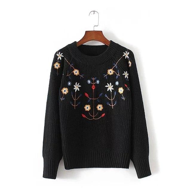 Короткий Свитер Женщин 2016 Новая Мода Осень Зима Плюс Размер Пуловеры Цветок Вышивка Свободно Случайный О-Образным Вырезом Трикотажные Женские Топы