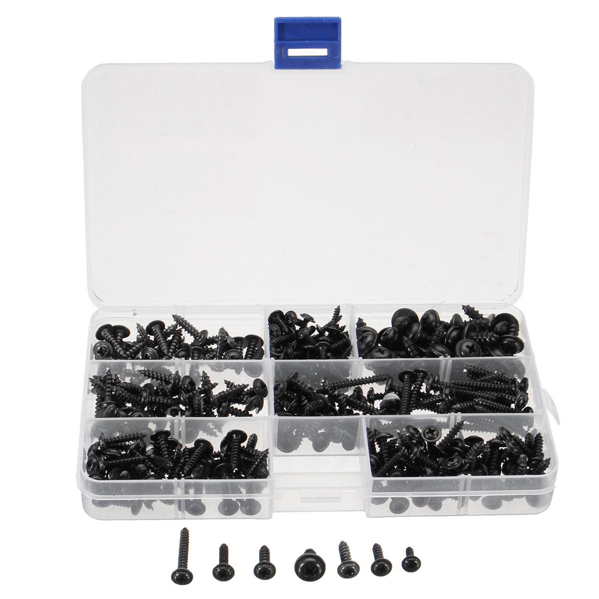 340 Assorted Pieces Stainless Steel Screws Set Assortment Round Head Self Tapping Screws Box Kit No. 4 6 8 10