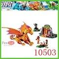 2017 nueva bela 10503 elfos lava cueva del dragón de fuego 446 unids/set lepin fairy 41175 juguetes de bloques de construcción para niños