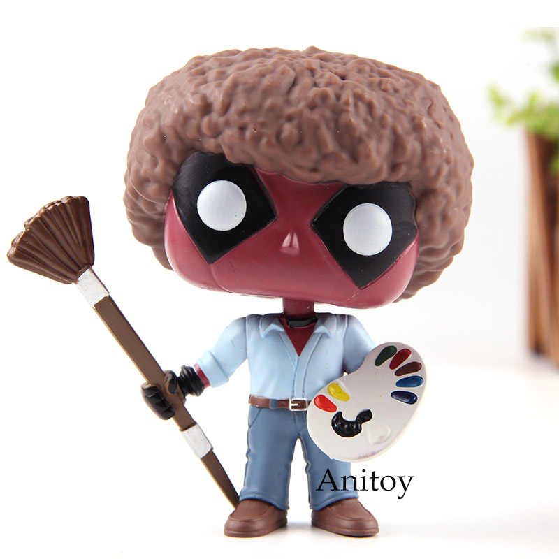 Deadpool Deadpool como Bob Ross Bonecos Bobble Head PVC Action Figure Toy Collectible Modelo com Caixa de Varejo