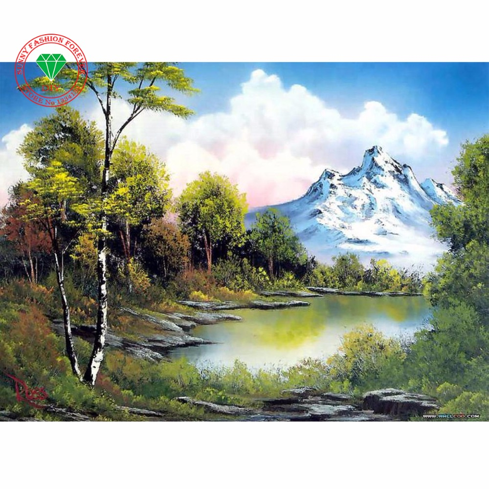 Expressive Diy Diamond Painting Nature Landscape Full Diamond Embroidery Beads Lake Forest 5d Full Square Round Mosaic Icon Of Rhinestone Needle Arts & Crafts Arts,crafts & Sewing