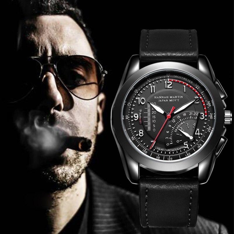 HM Top Brand Sport Men Watch Quartz Analog Faux Leather Fashion Military Quality Waterproof Black Wristwatch Relogios Masculino