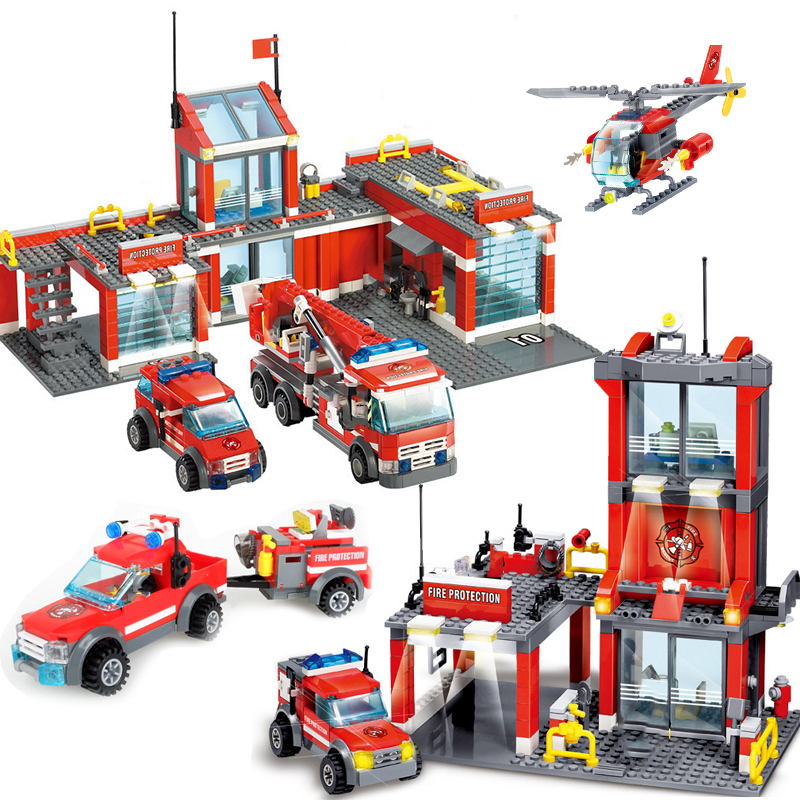 City Construction Rescue Vehicle Fire Truck Helicopter Building Blocks Police Compatible Legoing Technic Bricks Toy For Children