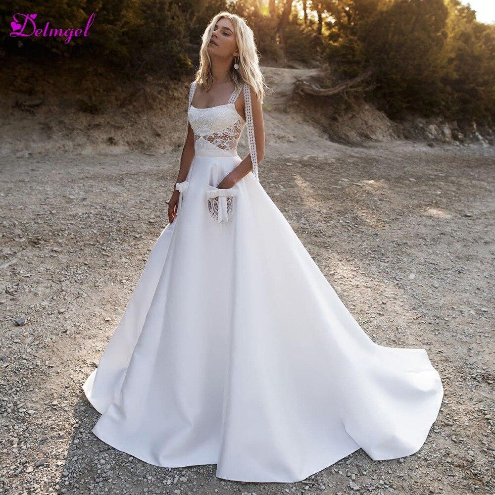 Detmgel Vestido de Noiva Strapless Appliques Lace Up A Linha de Vestidos de Casamento 2019 Nova Moda Bolsos de Cetim Plus Size vestido de Noiva