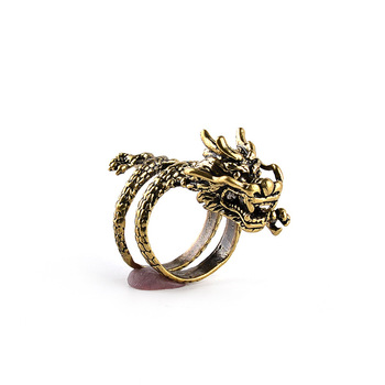 Fashion Gold Men Ring  Exaggerated Spirit Dragon Ring Personality Adjustable Split Ring Punk Hip Hop Male Female Jewelry Gift 4