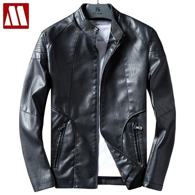 Nuove Giacche di Pelle Da Uomo Autunno Vestiti di Cuoio Solido Bomber  Giacca Maschile Business Casual 081a061a905f