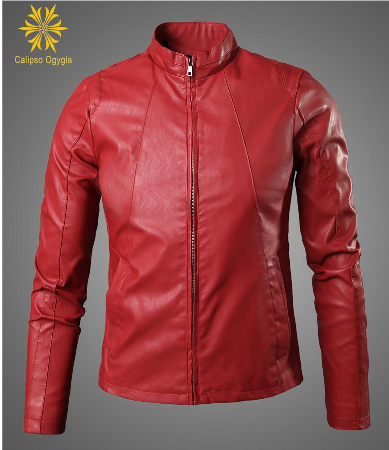 Blouson Moto Homme Casaco Men's Leather Jacket blue Slim fit Biker Motorcycle Jackets China Jaqueta Masculino Black Red M-3XL
