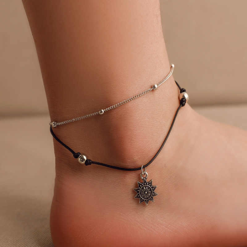 Bohemian Geometric Anklet Bracelet On The Leg Fashion Silver Color Leaf Anklets For Women Foot Beach Jewelry