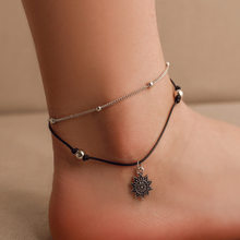 Bohemian Geometric Anklet Bracelet On The Leg Fashion Silver Color Leaf Anklets For Women Foot Beach Jewelry(China)